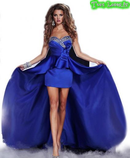 Robe de soirée cocktail bleu roi